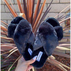 ASOS Fur Black Slide Slippers Sz 7.5 women